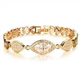 Wholesale Gold Plated Ladies Bracelets - Classical 18k Gold Plated Chain Link Bracelet for Women Ladies with Shining AAA Cubic Zircon Crystal Wedding Engagement Bridal Jewelry