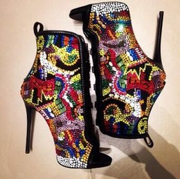 Wholesale Sexy Bootie High Heel Boots - 2017 New Designer Autumn Women bootie Multi Color Gladiator Lace-Up Sexy Peep Toes High Heel Sandals Luxury Rhinestone Wedding Shoes Woman