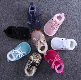 Wholesale Newborn Baby Cribs - Wholesale- Winter Warm Newborn Baby Shoes Leopard Baby Infant Kids Girl Soft Sole Shoe Crib Toddler First Walkers 0-18 months B10210