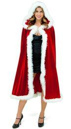 Cappuccetto Rosso Cosplay Faux Fur Cloak Lungo avvolge da sposa Giacca Inverno caldo Cappotti Mantelle Natale Wraps Mantelli Cosplay da sciarpa di seta bianca delle signore fornitori