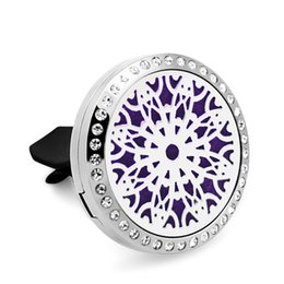 Wholesale Gold Scatters - 5PCS Silver Crystal Peacock Scattered Flowers Car Aromatherapy Lockets 30MM 316L Stainless Steel Car Aroma Perfume Locket With Free Pads