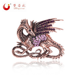 Wholesale Gold Metal Brooches - Wholesale- Retro Game of Thrones Purple Dragon Brooch Pin Antique Rose Gold Metal Rhinestone Broach Mujer Vintage Large Broches X1596