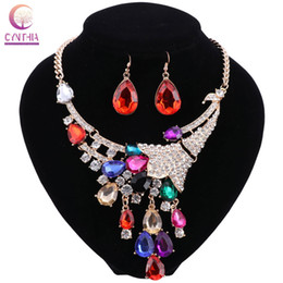 Wholesale bridal necklaces light purple - African Gold Color Jewelry Sets For Women Accessories Wedding Bridal Party Pendant Crystal Necklace Earrings Jewelry Sets