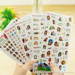Wholesale Girl Scrapbooks - 6 pcs set photo album Scrapbook decoration Black hair girl stickers DIY Handmade Sticker Gifts Card Scrapbooking Free shipping