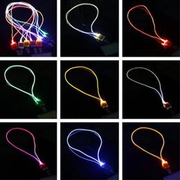 Wholesale Luminous Rope - New Arrival LED Lanyard Novelty Lighting LED Optical Fiber Luminous Lanyard Work Card Hanging Rope Light Smile Face LED Lanyard + Card