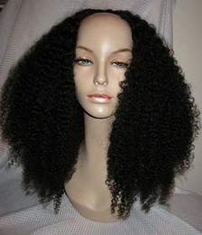 Wholesale Kinky Curls Wigs - 180density Afro Kinky Curly U Part Human Hair Wigs Virgin Brazilian Upart Wig Human Hair Afro Curls Nautral Black Sale