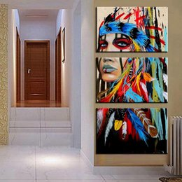 Wholesale Sheets For Girls - 3pcs Indian girl tattoos Oil Painting Decoration Printing Canvas Women Oil Painting Art For Bedroom and Living Room
