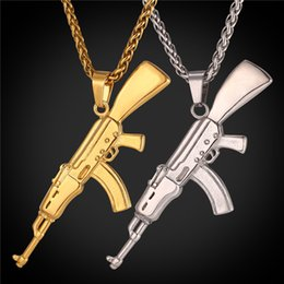 Wholesale halloween animals - U7 Fashion Cool AK47 Assault Rifle Pendant Necklace European Hip Hop Jewelry Stainless Steel Gold Black Gun Plated Chain for Men GP2467