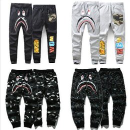 Wholesale Embroidery Trousers - Japan Camo Shark Pant Trousers Fashion WGM Harem Pants Fleece Sportswear Long Trousers Jogger Running Sweatpant
