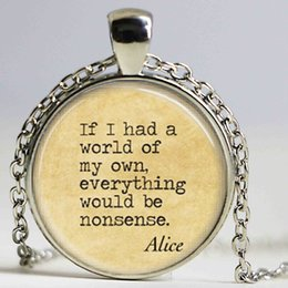 Wholesale Quotes Books - Fashion necklaces for women 2014 Alice In Wonderland Necklace Nonsense Fairy Tales Book Quote Necklace