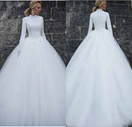 Wholesale Sexy Lace White Cheap Top - New Hot A Line High Collar Long Sleeve Wedding Dresses Muslim Chapel Train White Tulle Lace Top Cheap Wedding Dress 2017