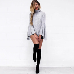 Wholesale Loose Collar Shirts Wholesale - Foreign Trade Women's Clothing Autumn And Winter New High Collar Loose Fashion Long Sleeves T-shirt B-57