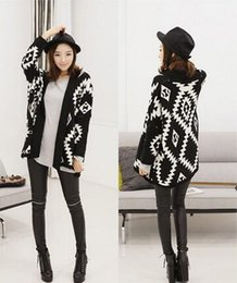 Wholesale Cardigan Sweaters Large Women - Wholesale-2016 Autumn and winter geometric pattern loose sweater fashion and large size cardigan sweater irregular