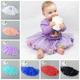 Wholesale White Pettiskirt For Kids - girls tulle skirt pom pom fluffy baby tutu skirts christmas pettiskirt pompom tutus for kids girl birthday party supplies childrens clothes