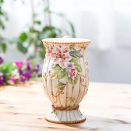 Wholesale Minimalist Vases - Flowers Lilies Patterns Ceramic Vases Home Decor New Vase Modern Minimalist Desktop Decoration Water Containers Wedding Gift
