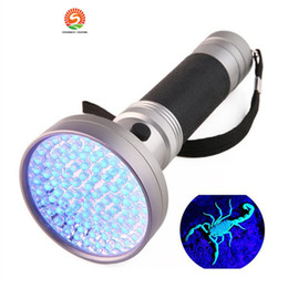 Wholesale Blacklight Torch - 10pcs 100LED 395-400nm UV Blacklight Scorpion Super Bright Detection Flashlight Torch Portable Violet Light Money Detector
