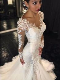Wholesale Alibaba China - Long Sleeve Mermaid Wedding Dresses 2017 Illusion Vestido De Noiva De Renda O-Neck Sheer Alibaba China Bridal Gowns Handmade
