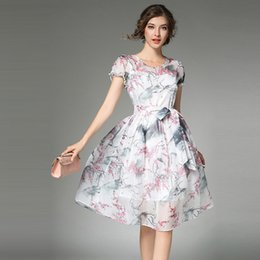 Wholesale Painting Evening Dresses - Elegant Ink Painting A Line Dress Ladies Party Evening Vestidos Short Sleeve Fake Two Pieces Floral Printing Dress 2017 Summer Casual Desses