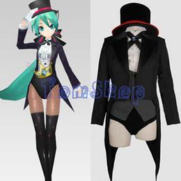 Wholesale Tuxedo Girl Costume - Vocaloid 2 Project Diva Magician Miku Cosplay Uniform Tuxedo Suit Swallowtail Jacket Full Set Women Girl Costumes