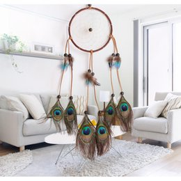 Wholesale Gift Box For Ornament - Peacock Feathers Dreamcatcher Wind Chimes Lace Dream Catcher Circular Windbells With Wooden Beads For Home Hanging Deco Ornament 11 8lz B R