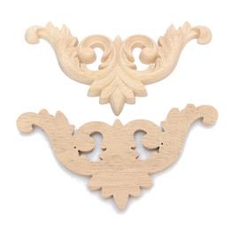 Wholesale 3 Taille En Bois Sculpté Coin Onlay Applique Non Peint Meubles Mur Porte Tiroir Cabinet Décoratif Figurines En Bois Miniatures Décor Carfts