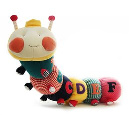 Wholesale Stuffed Animal Caterpillars - Wholesale- SHILOH Baby Toys Musical Caterpillar Educational Toy With Ring Bell Stuffed Plush Animal Kids Toys Baby Rattles Mobiles 73cm