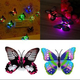Wholesale Small Led Lights Decoration - LED Butterfly Wall Sticker 3D Glowing Night Light Sticker Refrigerator Stickers House Decoration Lifelike Butterfly Stickers OOA2373