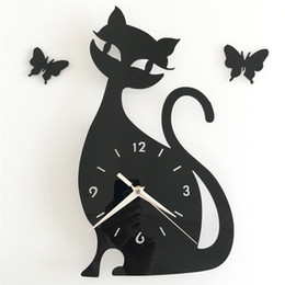 watches cat designs Coupons - 3D DIY 35x32cm Cute Cat & Butterfly Wall Clock Modern Design Kitchen Bathroom Home Decor Watch Wall Clocks