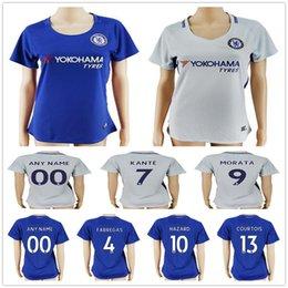 Wholesale Grey Women Football Jerseys - 2017 18 Women Chelsea Soccer Jerseys 10 Eden Hazard 4 FABREGAS 23 CUADRADO 9 MORATA PEDRO WILLIAN KANTE DAVID LUIZ Ladies Football Shirts