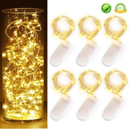 Wholesale Christmas Led Lights Curtain 2m - Newest CR2032 battery operated 2M 20LEDS micro led fairy string light Copper Wire led string holiday light decorations led moon lights