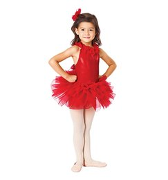 Wholesale Ballet Wear Leotard - Womens' professional dance costumes red swan sleeveless ballet dance wear tutu leotards performance dress Ballerina Skirt stage costumes