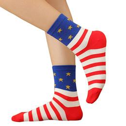 Wholesale Women American Flag Dress - Wholesale- 2016 Woman Casual American USA Star Stripes Flag Old Glory Fashion Dress Crew Socks NY79 7FYI 89Z1