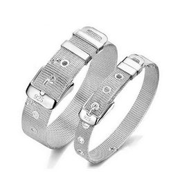 Wholesale Couple Wristband Bracelets - 925 Sterling Silver Plate 10mm 14mm Net Strap Bracelet Bangle Adjustable Silver-Tone Watch Band Wristbands Couples Bracelet Gift Box