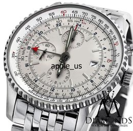 Wholesale Oval Watch Faces - best products best products WATCH wristwatch Hot World GMT White Face Chronograph A24322 46mm Watch Automatic Watch With BOX Men's Watches
