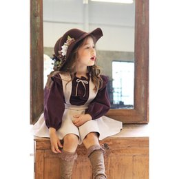 Wholesale Cotton Lolita Blouses - 2017 new Han edition girls suit hubble-bubble sleeve blouse + embroidered braces skirt in the spring and autumn outfit kids sets