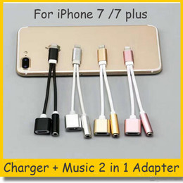 Wholesale Earphone Headphone For Apple Iphone - 2 in 1 Colorful 3.5 mm Headphone Jack Adapter For iPhone 7 plus 6 6s plus Earphone Charger Cable High Quality