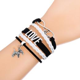 Wholesale Handmade Braided Cord - Promotion Price!Muti Layer Braided Leather Handmade Bracelet Love Infinity Dog Charm Wax Cord Bracelet