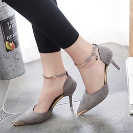 Wholesale Wedding Dresses Thin Straps - Women Suede Pumps High Heels Women OL Pumps Sexy High Heels Shoes Women Pointed Toe Thin Heel Red Bottom Ladies Wedding Shoes