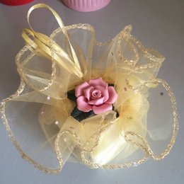 Wholesale Gold Drawstring Organza Bag - 50pcs diameter 26cm gold Round Sachet Organza Bag Drawstring jewelry packaging bags for Wedding gift food candy Christmas