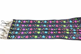 Wholesale star mobile case - Lot 20 Pcs Colorful Star Key Lanyard ID Case Holders Stars Mobile Phone Nect Straps
