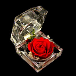 Wholesale Wedding Ring Souvenirs - Decorative Fresh Preserved Rose Flower Crystal Ring Box Wedding Souvenir Mother's Day Birthday Flowers Gifts Home Decoration