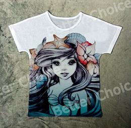 Wholesale T Shirt Little Mermaid - Track Ship+New Hot Fresh Vintage Retro T-shirt Top Tee Little Mermaid Sea Princess Girl Shell Starfish Flower 1412