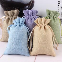 Bolsa de tela con cordón online-Tela natural Regalos de regalos de la joyería Bolsas Con cordón Regalo de la boda Bolsas de joyería 10.5 cm * 15.5 cm IC869