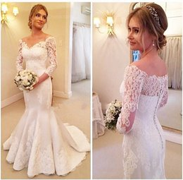 Wholesale Winter Wedding Gowns Sleeves - V-neck Mermaid Wedding Dresses 2017 Winter 2016 Lace Appliques Cheap Modest Square Neckline long Sleeves High Quality Couture Bridal Gowns