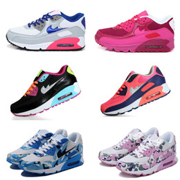 Wholesale Colorful Shoes Girls - Free shipping WOMEN 90 Sneakers Sport Running Shoes Girls Boys Colorful Split Leather Shoes New StylesEur 36-40