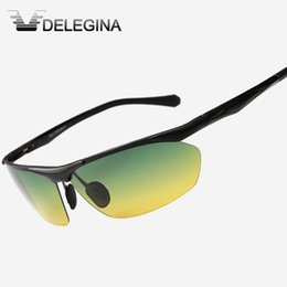 Wholesale Sunglasses Coloured Lens - Wholesale- 5 Colours Day Night Vision Polarized Glasses Men Yellow Lenses Sunglasses Points For Driving Driver