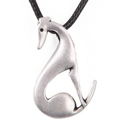Wholesale Italian Rope Chain - Wholesale-Sitting Greyhound Necklace Dog Pendant Whippet Italian Necklaces & Pendants Silver Choker Necklace Women Christmas Gift