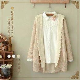 Wholesale Beige Tunic - Wholesale-Mori Girl Sweet Knitted Sweater Cardigan Jacket Women Casual Cardigan Coat Mori Girl Cute Lolita Top Tunic Cardigan Tops Jacket