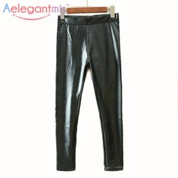 Wholesale Shiny Cotton Leggings - Wholesale- Special Offer Aelegantmis 100% Cotton Shiny Lustrous Black Leggings Pencil Pants Women Sexy High Waist Stretch Skinny Leggings