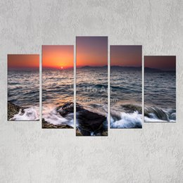 Wholesale Ocean Painting Piece - Home Decoration Wall Art Picture Ocean Beach Decor Painting 5 Piece Wall Art Painting Pictures Print on Canvas for Modern Home
